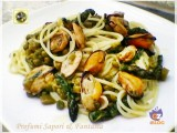 Spaghetti alle cozze asparagi e piselli