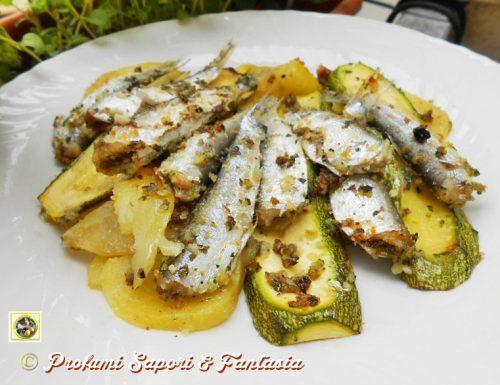 Sarde gratinate con patate e zucchine
