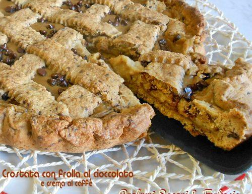Crostata con frolla al cioccolato e crema al caffe'