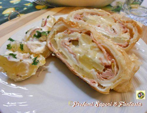 Rotolo di pasta sfoglia ripieno salato