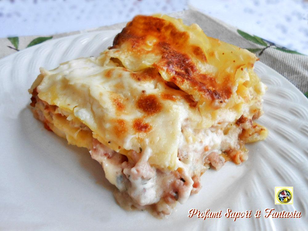 Lasagne bianche con prosciutto cotto e formaggio for Primi piatti particolari