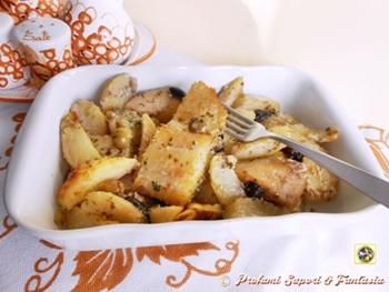 Baccalà al forno con olive e patate