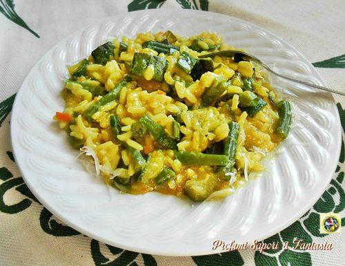 Risotto con zucchine e fagiolini