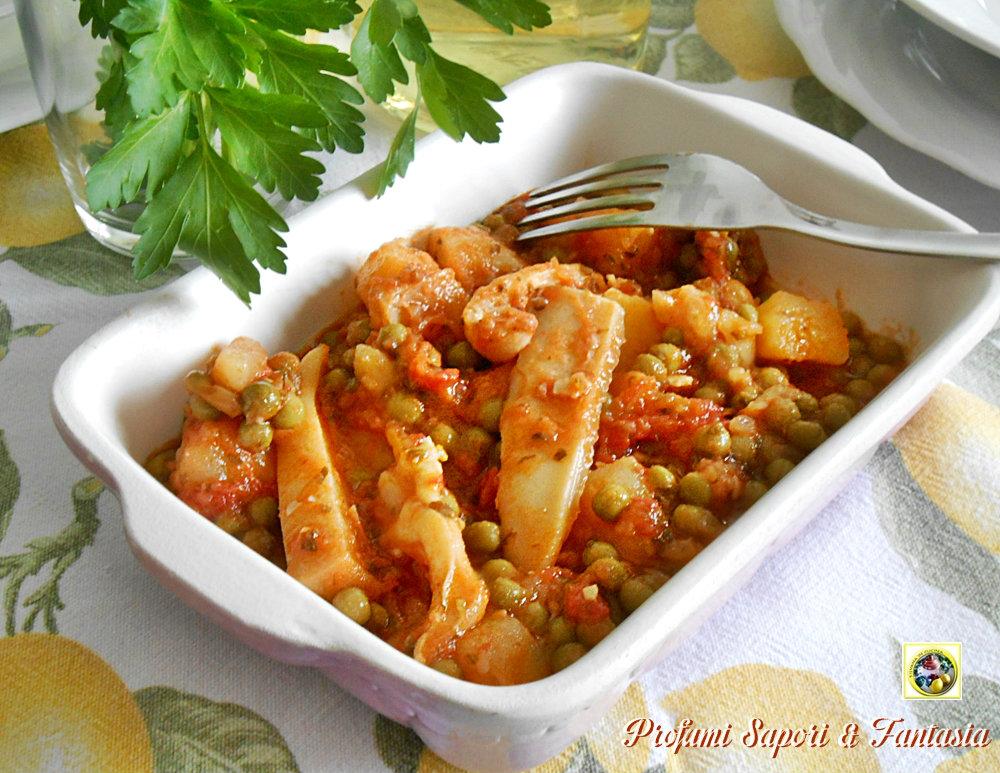 Seppie in umido con patate e piselli ricetta for Cucinare seppie