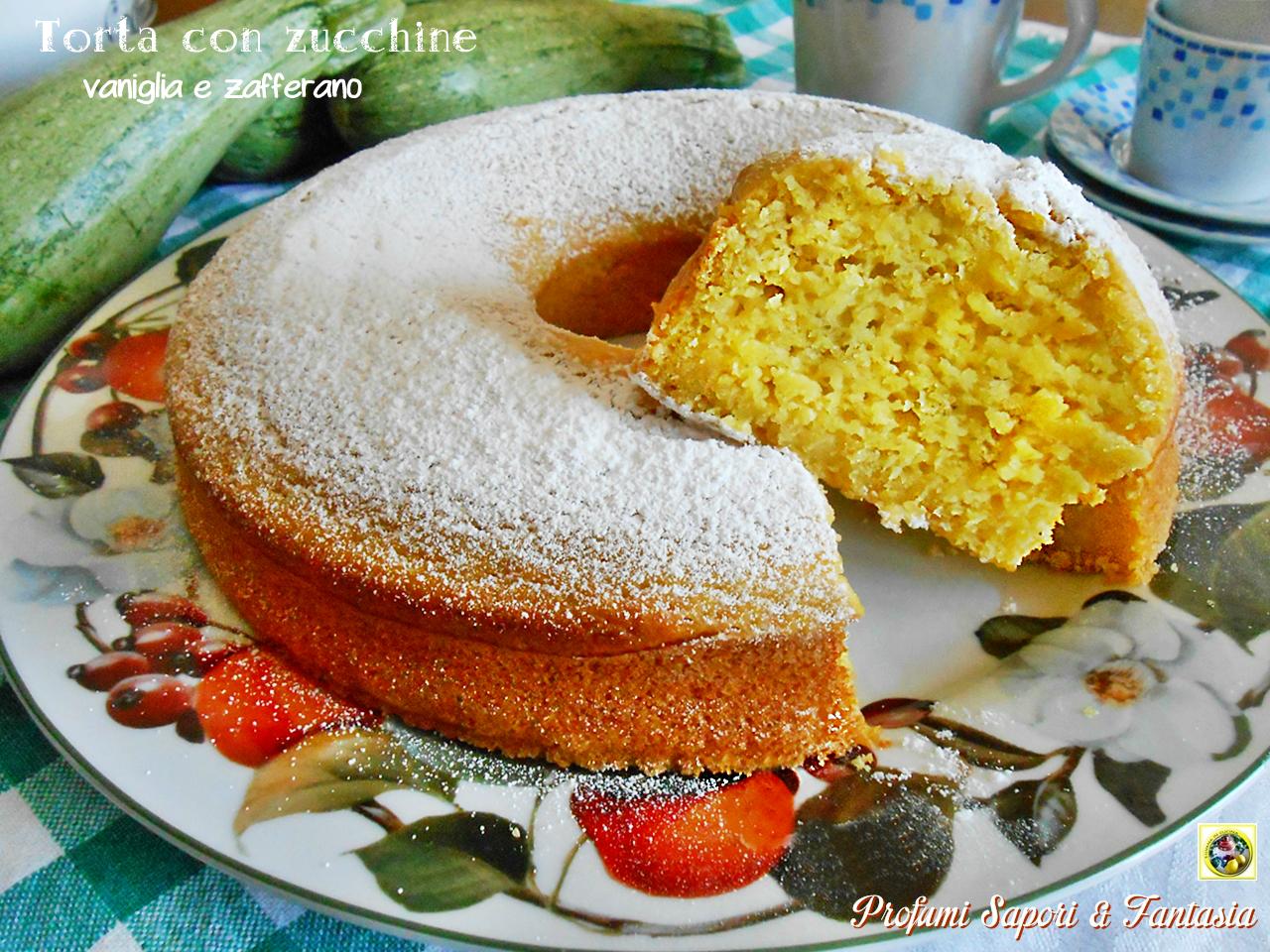 Torta con zucchine vaniglia e zafferano
