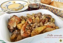 Pollo arrosto al pesto di zucchine e patate