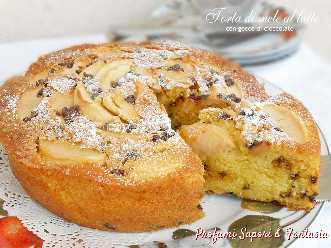 Torta di mele al latte con gocce di cioccolato 493adf5a21c