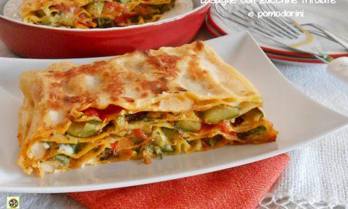 Lasagne con zucchine trifolate e pomodorini