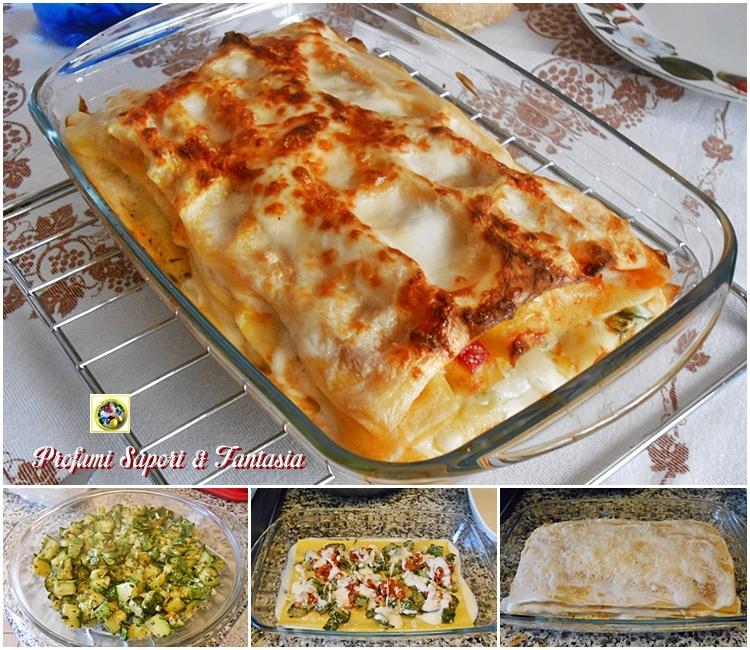 Lasagne con zucchine trifolate e pomodorini Blog Profumi Sapori & Fantasia