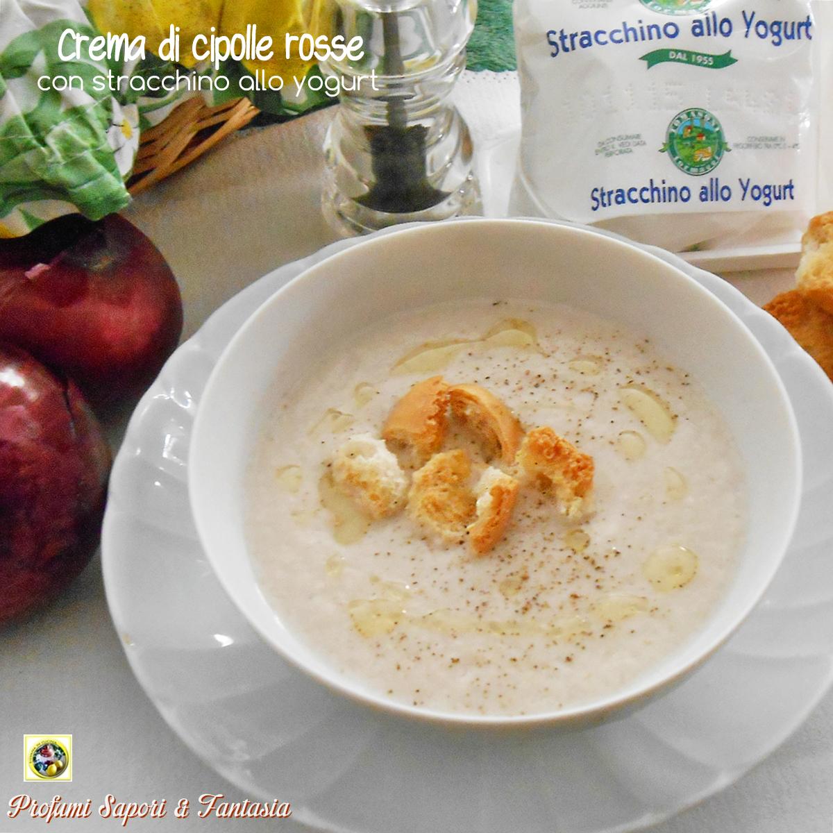 Crema di cipolle rosse con stracchino allo yogurt
