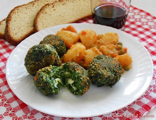 Polpette di spinaci con prosciutto e formaggio