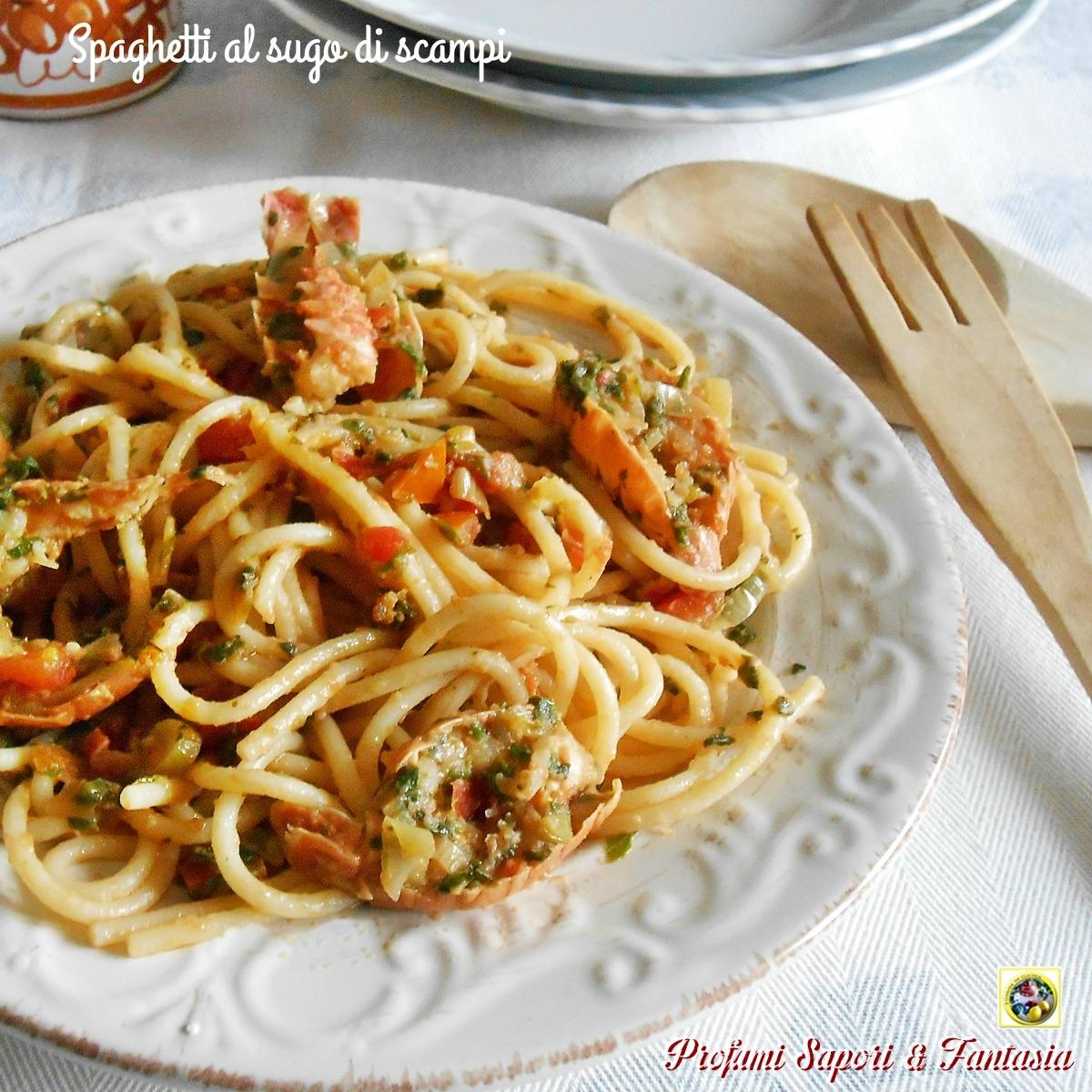 Spaghetti al sugo di scampi Blog Profumi Sapori & Fantasia