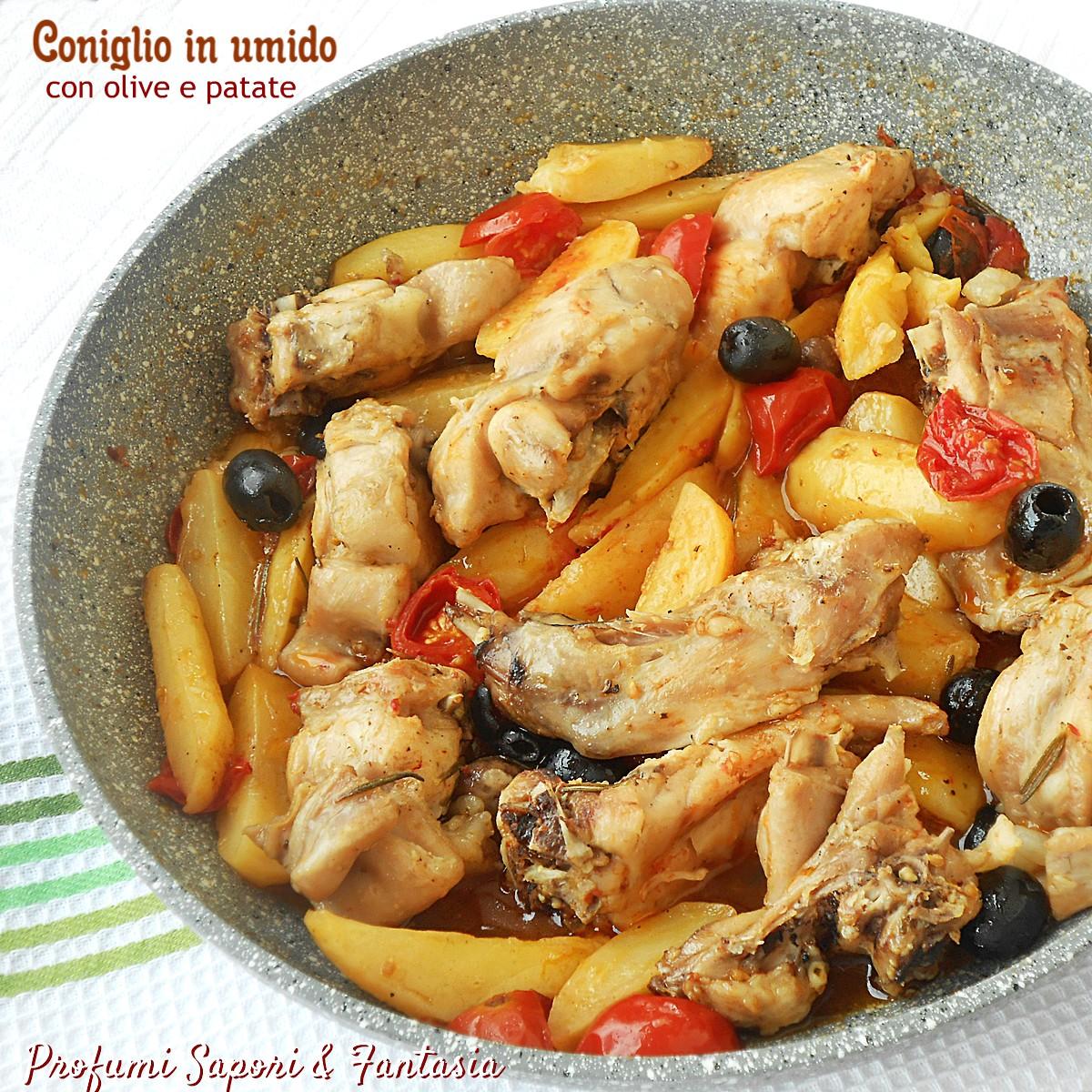 Coniglio in umido con olive e patate
