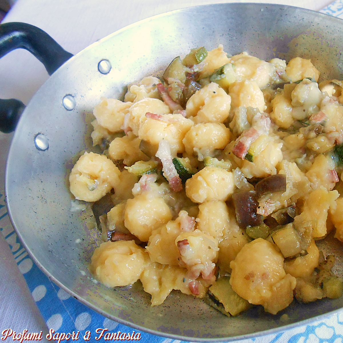 Gnocchi alle verdure e pancetta cremosi