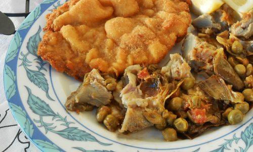 Carciofi con cotolette di pollo