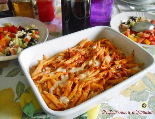 Pasta al forno con pomodorini e provola
