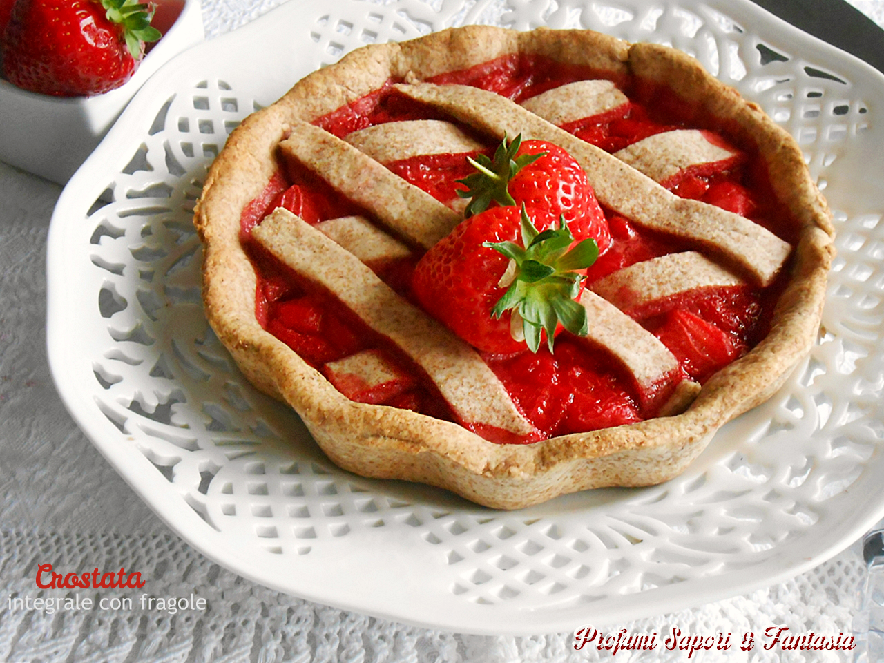 Crostata integrale alle fragole senza zucchero