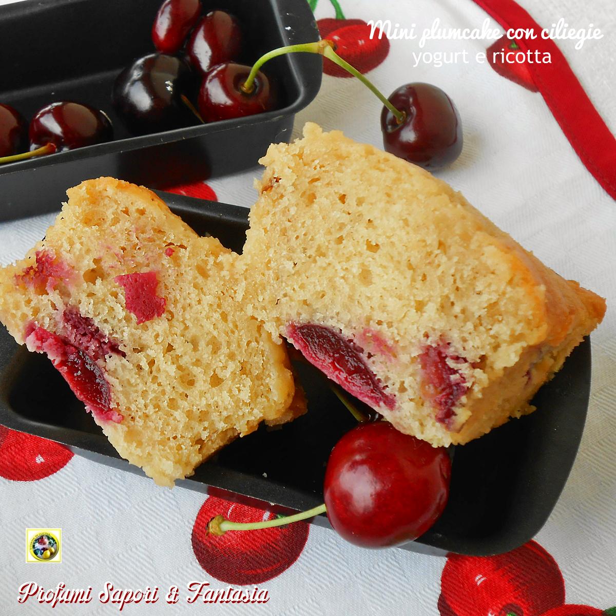 Mini plumcake con ciliegie yogurt e ricotta