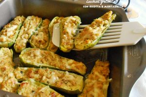 Zucchine gratinate con ricotta e mortadella