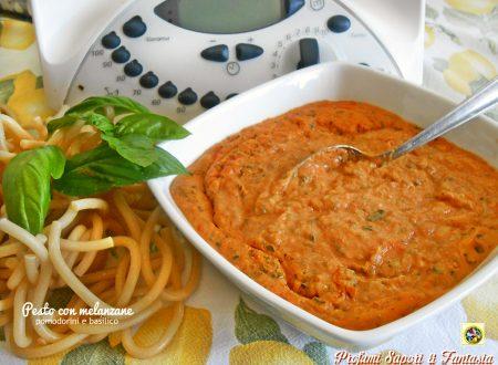 Pesto con melanzane pomodorini e basilico