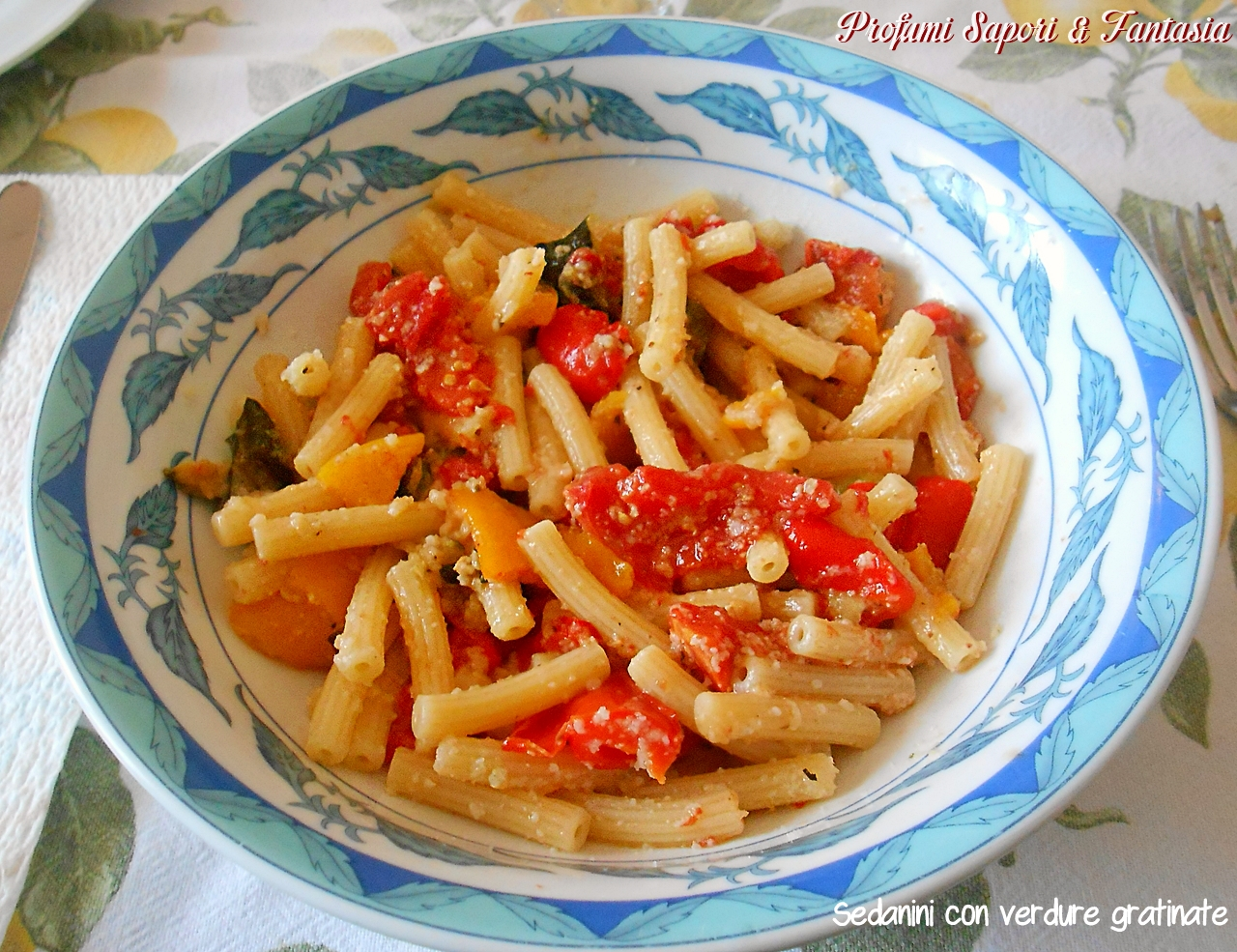 Sedanini con verdure gratinate