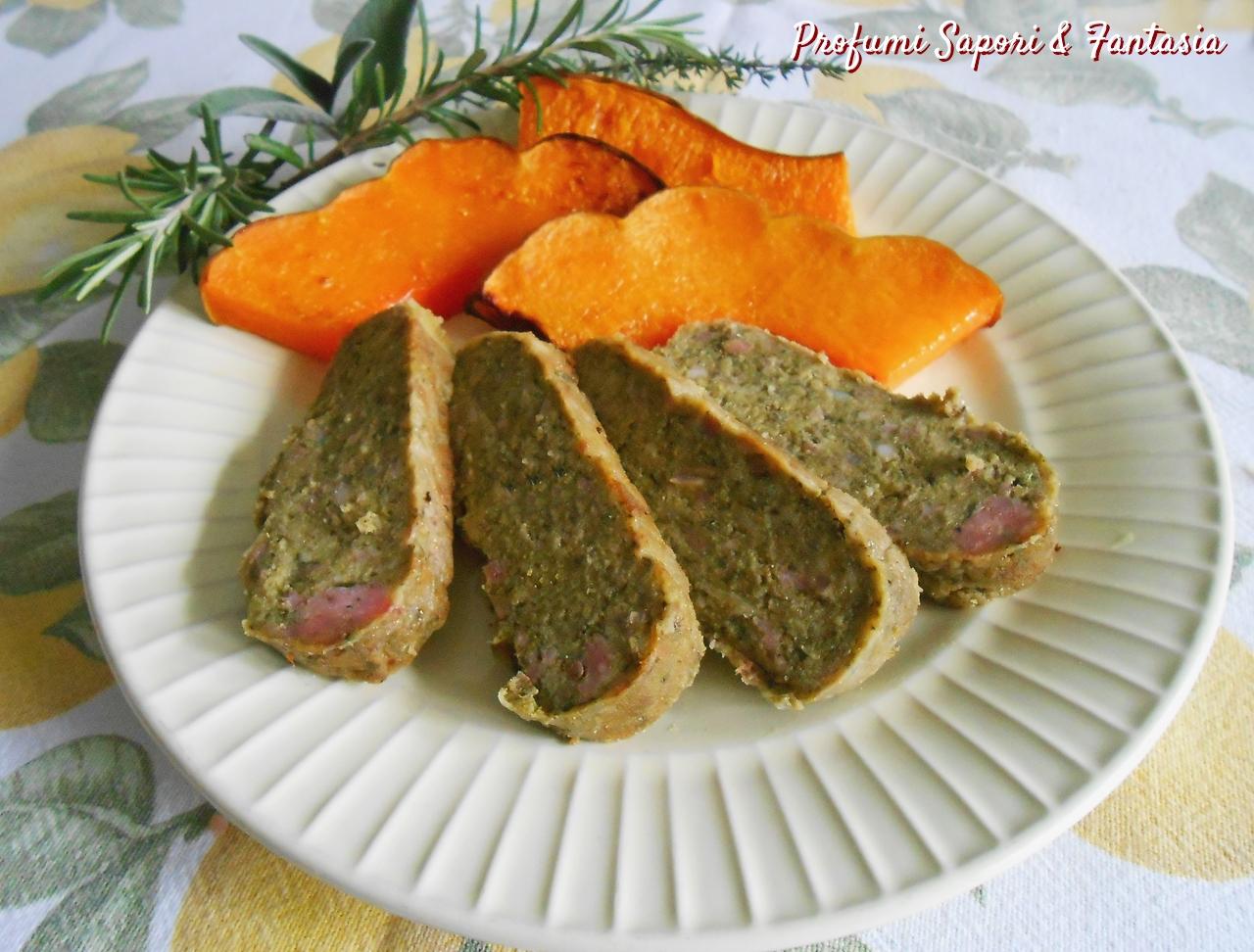 Polpettone di spinaci con salsiccia e ricotta