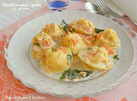 Ravioli con zucca e patate al salmone