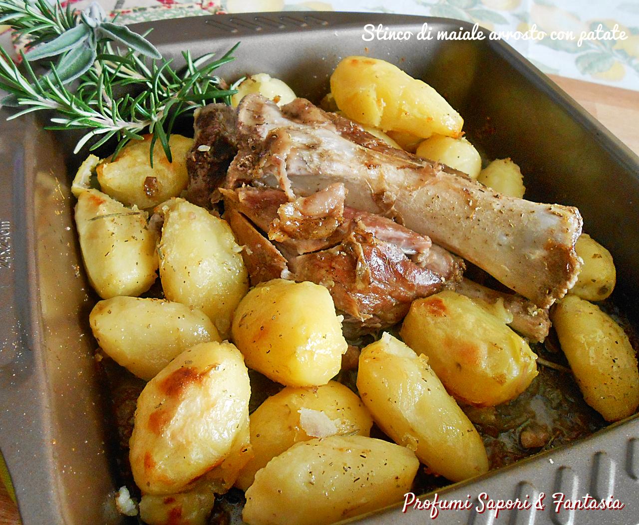 Stinco di maiale arrosto con patate