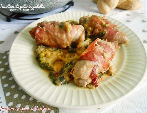 Involtini di pollo in padella speck e fontina