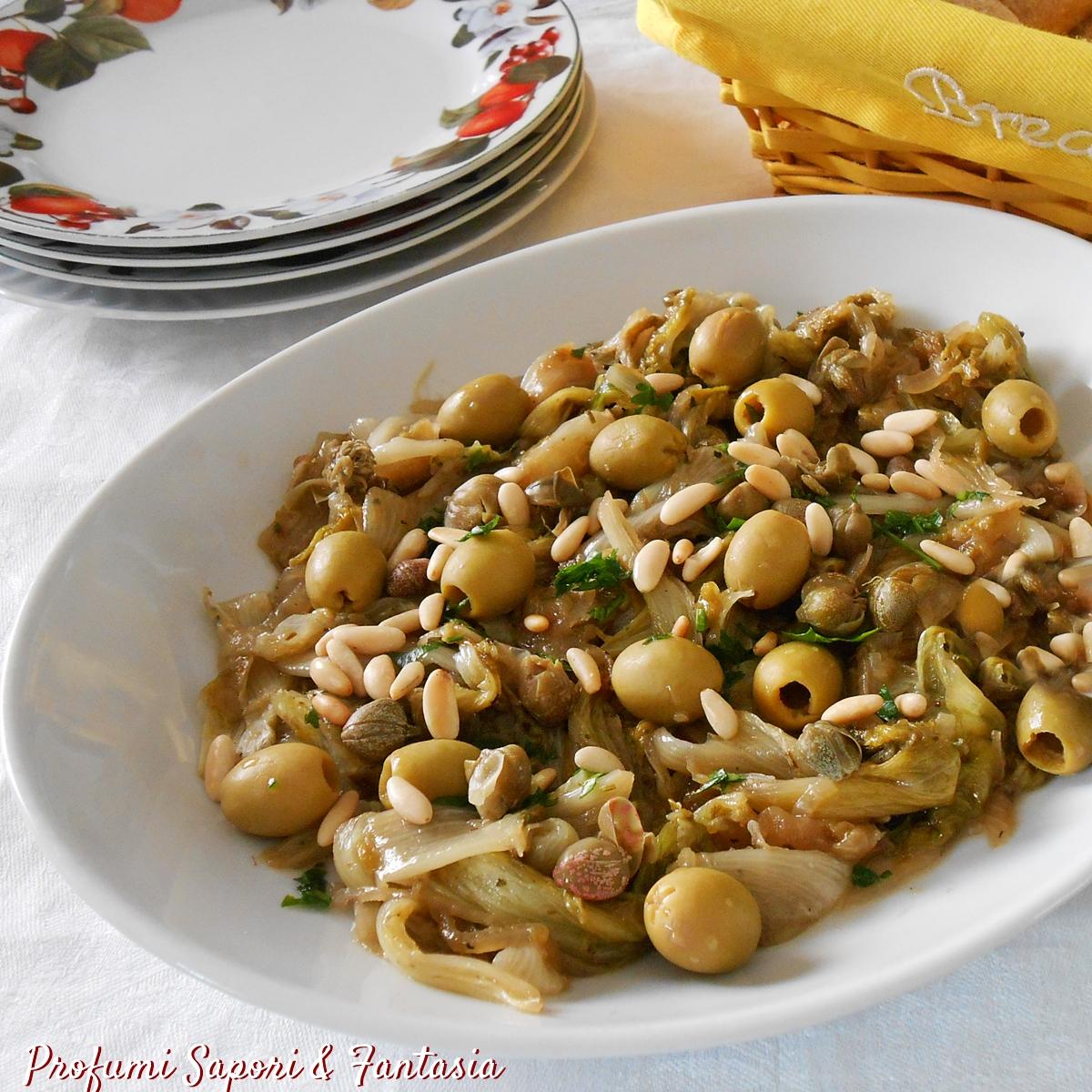 Scarola stufata con olive capperi e pinoli