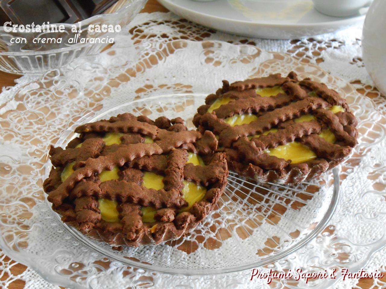 Crostatine al cacao con crema all'arancia