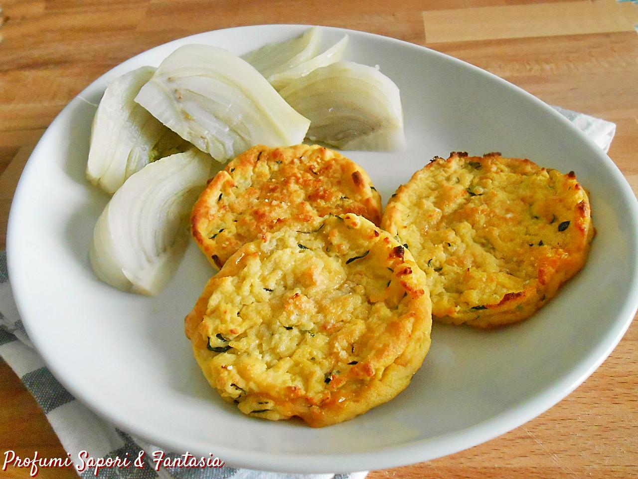 Medaglioni di patate e zucchine al forno con formaggio filante