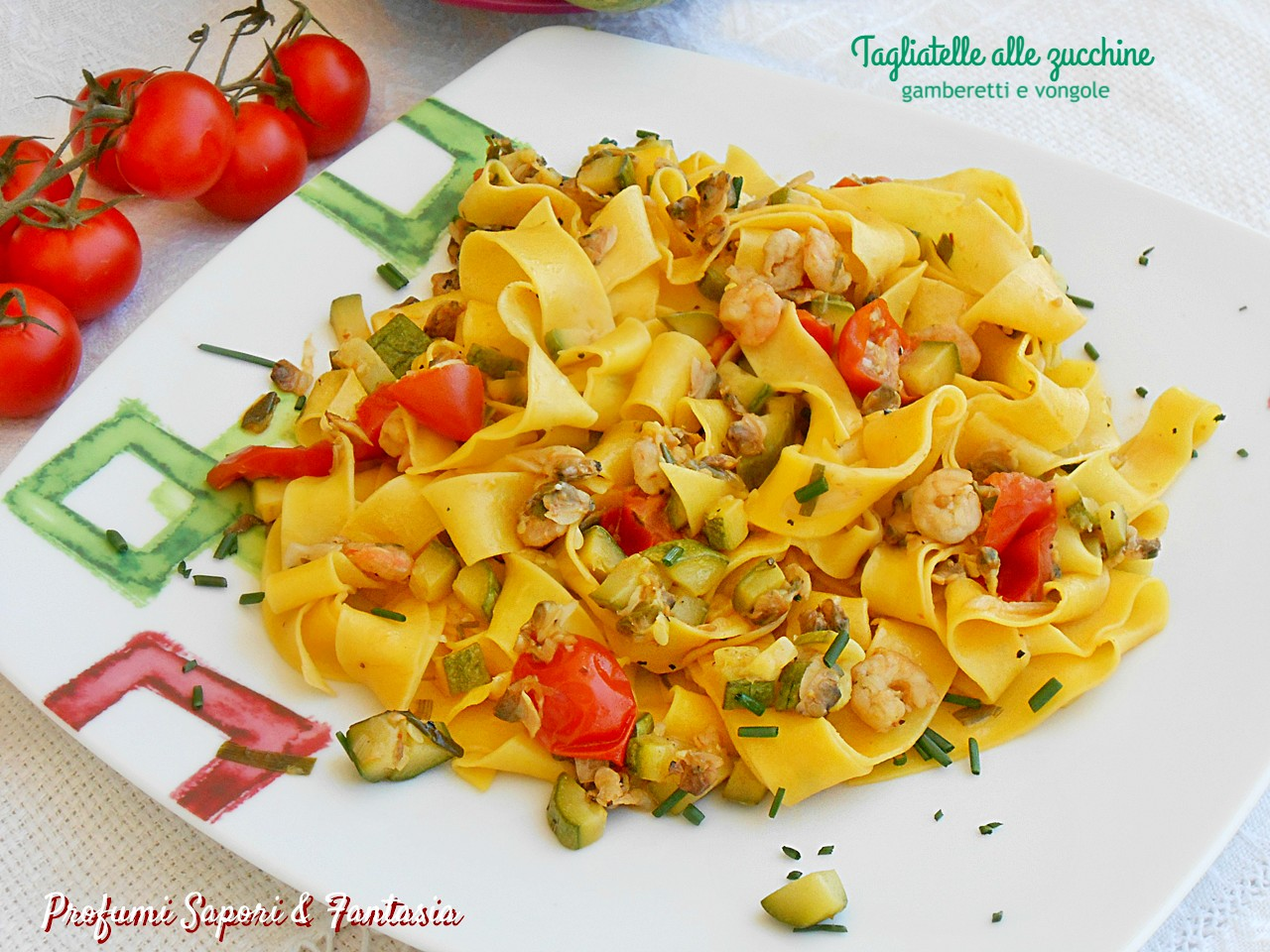 Ricetta Vongole Zucchine E Gamberetti.Tagliatelle Con Zucchine Gamberetti E Vongole Profumi Sapori Fantasia