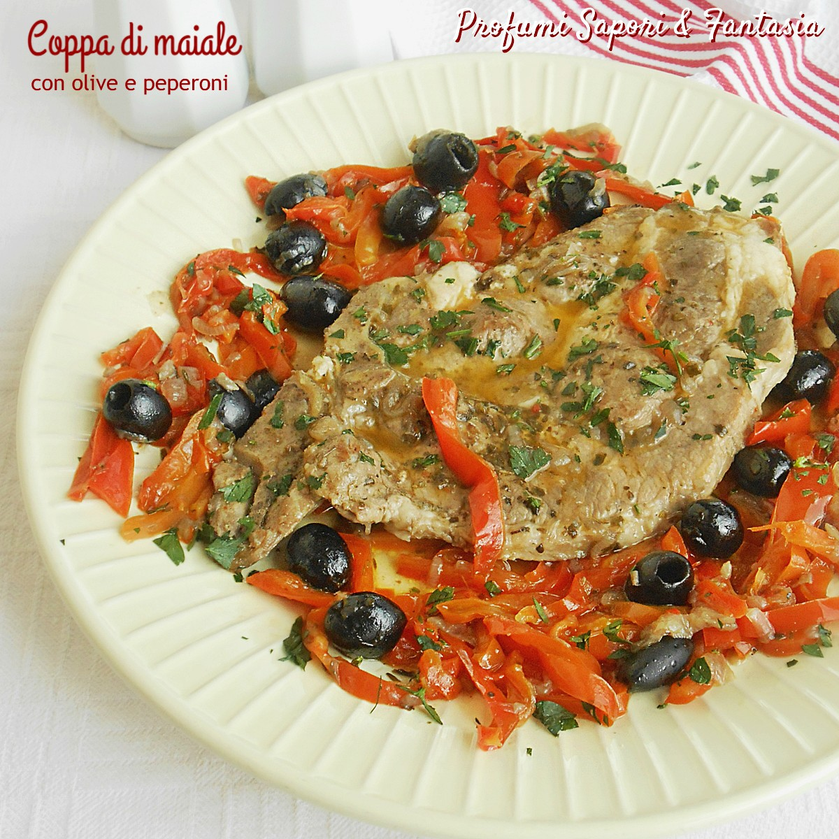 Coppa di maiale con olive e peperoni