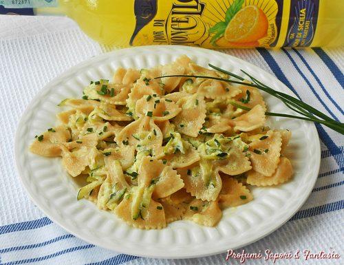 Farfalle al limoncello yogurt e zucchine