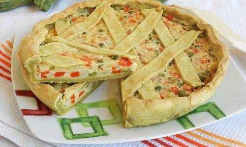 Torta salata con briseè alle zucchine ripiena
