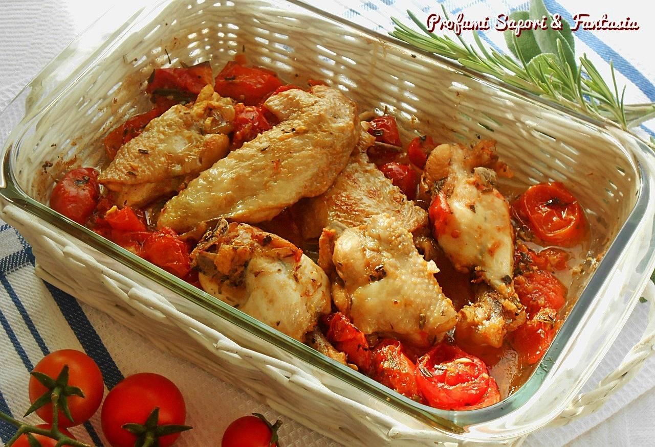 Ali di pollo arrosto con pomodorini