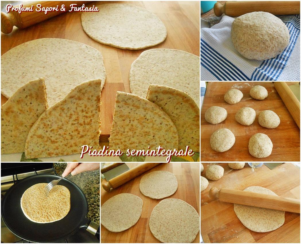 Piadina semintegrale doppia ricetta collage