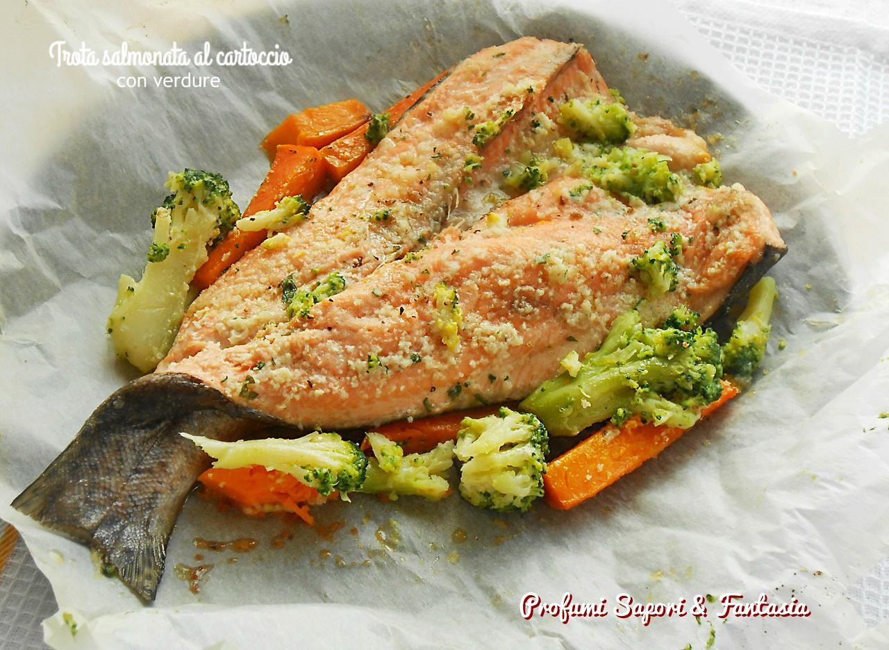 Trota salmonata al cartoccio con verdure 2