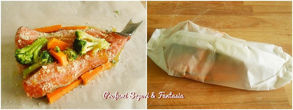 collage foto trota salmonata al cartoccio