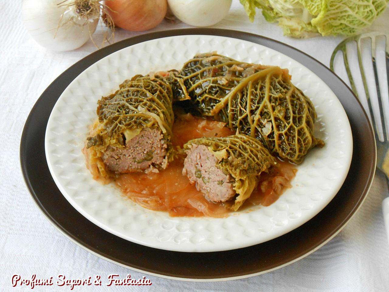 Involtini di verza ripieni con carne e verdure