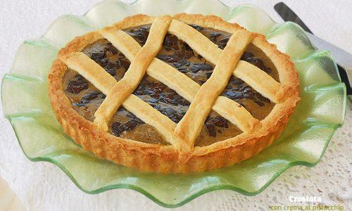 Crostata con crema al pistacchio e cioccolato