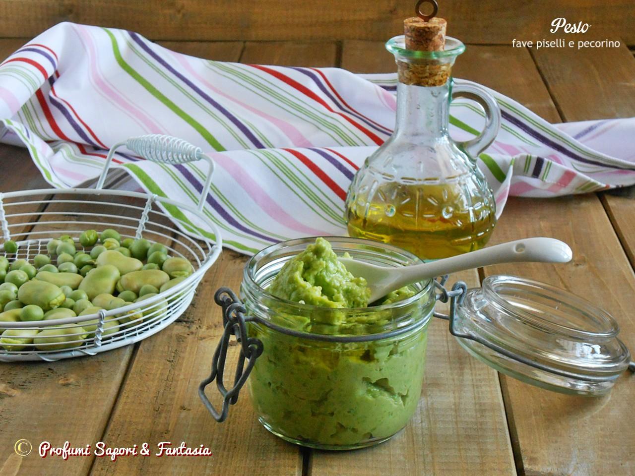 Pesto con piselli fave e pecorino orizz