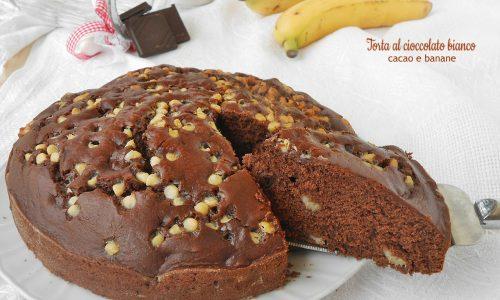 Torta al cioccolato bianco cacao e banane