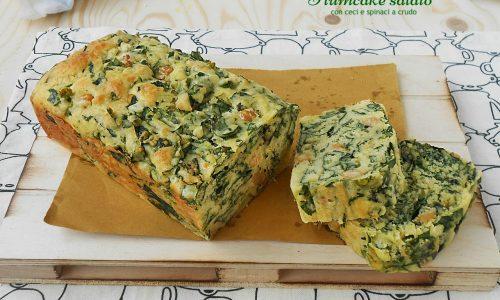 Plumcake salato con ceci e spinaci a crudo