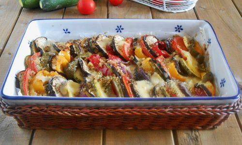 Verdure al forno gratinate con scamorza