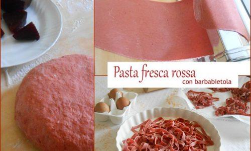 Pasta fresca rossa con barbabietola