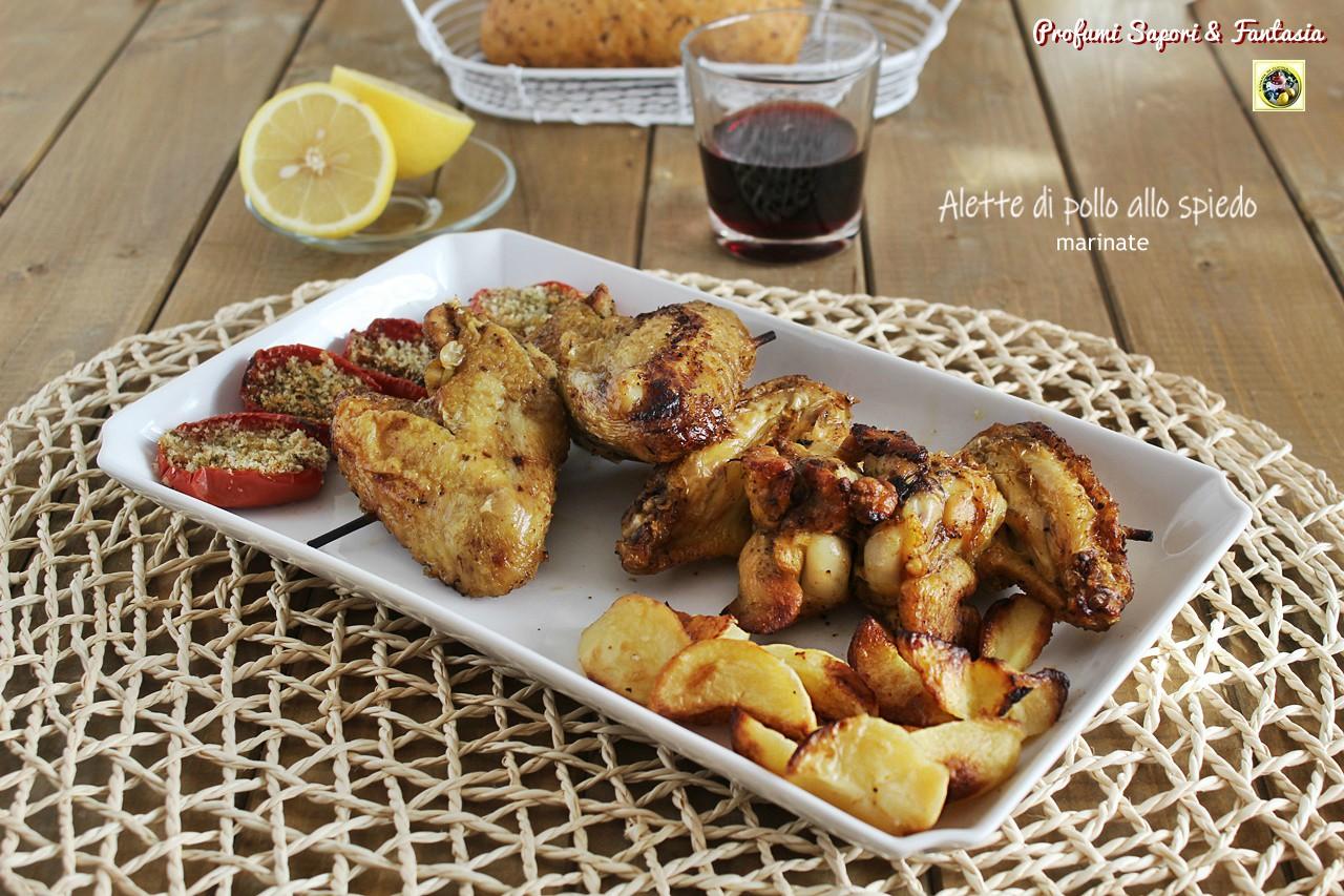 Alette di pollo allo spiedo marinate