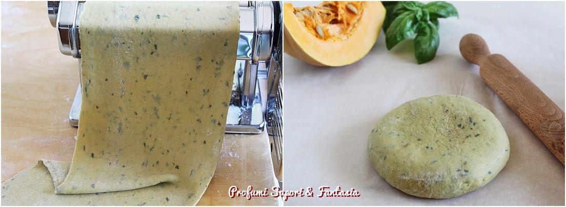 pasta fresca con zucca e basilico