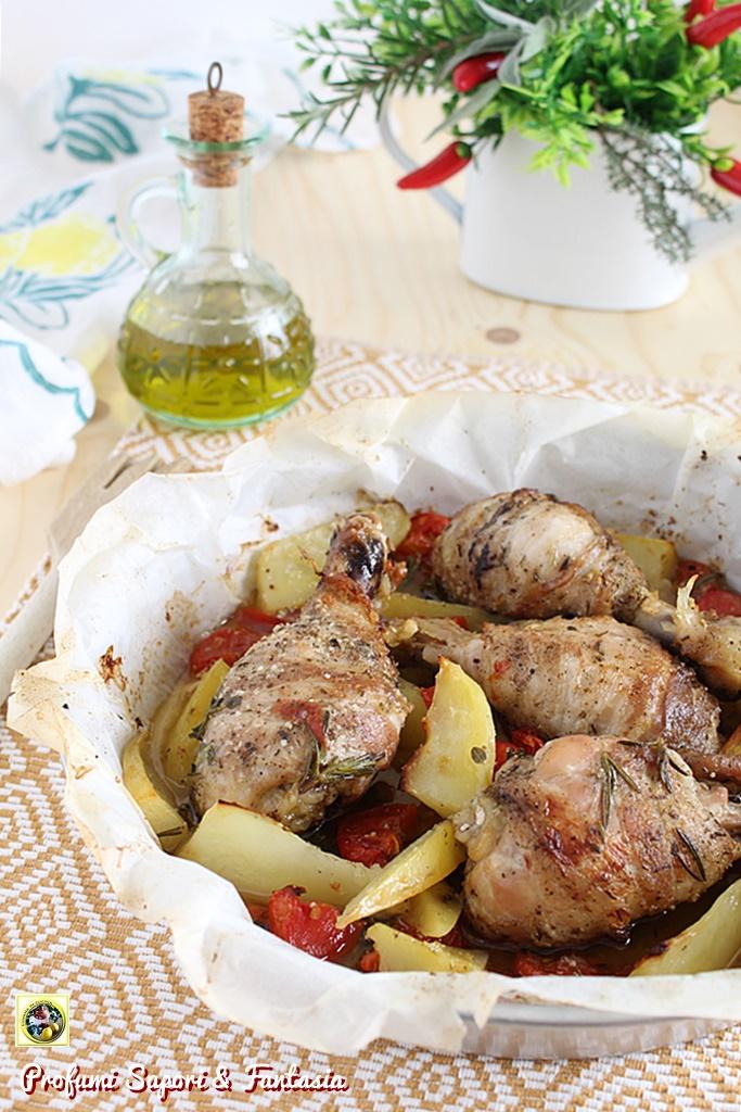 cosce di pollo con pancetta e verdure